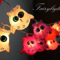String Lights-20 Owl mulberry Color Paper String Lights Wedding Party Home Decor,Indoor String lights,Bedroom String Lights.