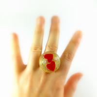 Red hearts ring Golden ring Heart ring Love ring Heart jewelry Promise ring Silver ring Open heart ring for her Valentines ring Red heart