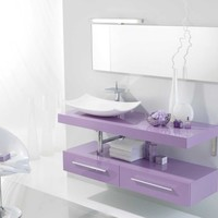 Ambiance Bain Tempo TEMPBAS140 Modern Designer Vanity in Lilac Lacquer