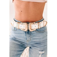 Outlaw Country Studded Double Buckle Belt (White/Gold)