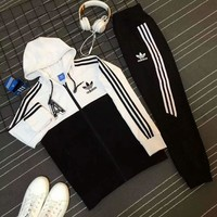 Adidas Casual Print Hoodie Top Coat Sweater Pants Trousers Set Two-piece Sportswear White I-PSXY