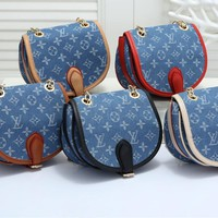 """Louis Vuitton"" Retro Fashion Multicolor Denim Logo Metal Chain Single Shoulder Messenger Bag Small Package"