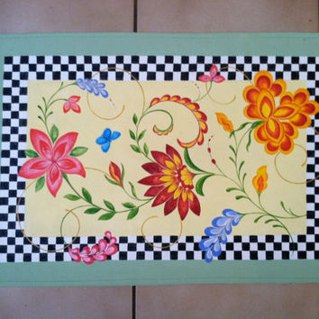 Floorcloth Home Decor Rugs Floor Cloth Mat Painted Rug Art for the Floor Mackenzie Childs Inspired