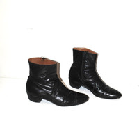 vintage beatle boots 1960s vtg boots 60s mens black patent leather pointy mod zip up boots size 9.5