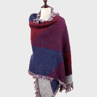 Oversized Boho Colorblock Check Knit Fringe Blanket Scarf Poncho - Burgundy