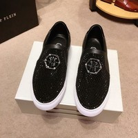 PP Philipp Plein Men's Leather Fashion Low Top Sneakers Shoes-KUYOU