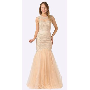 Champagne Appliqued Mermaid Long Formal Dress Cut-Out Back