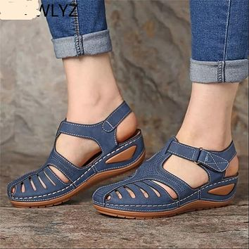 Women's Leather T-Strap Wedge Sandals