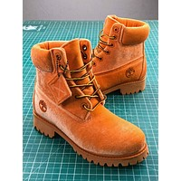 Off White X Timberland Velvet Hiking 6-inch Yellow Boots