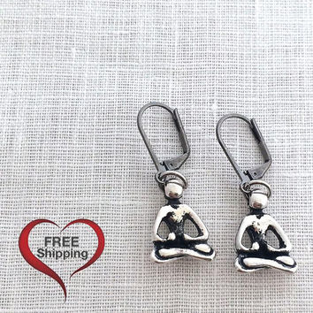 Yogi Jewelry, Silver Yoga Earring, Zen Earrings, Leverback, 606