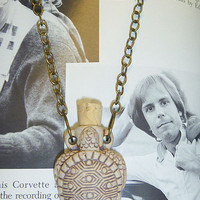 Turtle  Clay Oil Bottle Pendant Necklace  perfume bottle hippie   NEW  womens