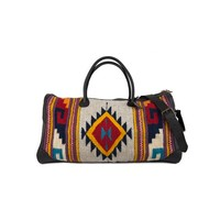 MZ Mitla Fair Trade Leather + Wool Duffel Bag