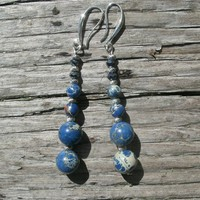 Boho Blue Impression Jasper Beaded Earrings with silver and dark blue crystal beds, french style silver plated open hooks, dangle earrings