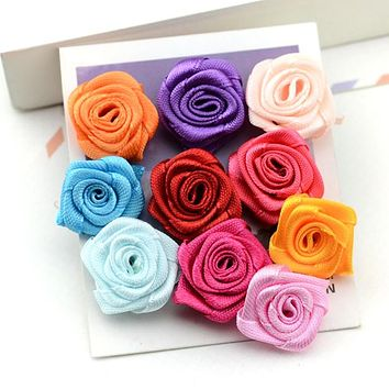 Handmade Satin Ribbon Rose Flower Bow Appliques Wedding Decor Appliques Sewing Accessories Color