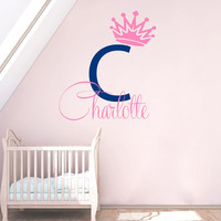 Name Wall Decal Girl Personalized Name Sticker Princess Crown Vinyl Decals Monogram Murals Girls Bedroom Interior Design Nursery Decor KI103