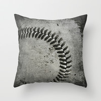 Baseball Throw Pillow by Christy Leigh