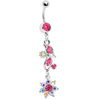 Pink Gem Aurora Floral Exotica Belly Ring | Body Candy Body Jewelry