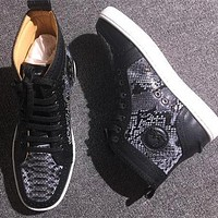 Christian Louboutin CL Python Style #2270 Sneakers Fashion Shoes Online