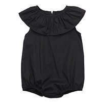 0-4Years Kids ruffle-neck Romper Baby Girls black Romper Jumpsuit Playsuit Summer Clothes Outfit Sunsuit