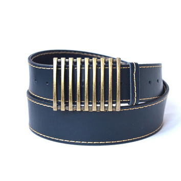 Leather belt for jeans, blue