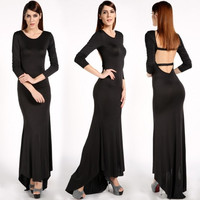 New Sexy Women Backless Long Sleeve Prom Ball Cocktail Party Dress Formal Evening Gown