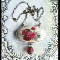 Handmade broken china pink roses oval necklace