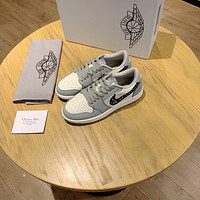 Dior x AJ1 Men's And Women's Leather Fashion Low Top Sneakers Shoes