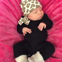 Baby Black Leopard Romper with matching Cap