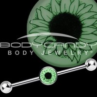 14 Gauge Glow in the Dark Artsy Sunflower Industrial Barbell 37mm
