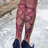 Tattoo-socks, Corset Piercing Legs Red Bow  realistic looking tattoo pantyhose, tattoo tights, tattoo socks
