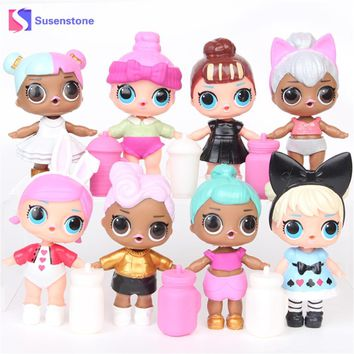 8 Pcs/Set LOL Surprise Doll Toys Beads Removable Action Figure Toy Unpacking Surprise Doll Water Spray Girls Xmas Gifts Beads