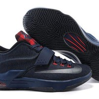 DCCKIJ2 Nike Men's Durant Zoom KD 7 Basketball Shoes Black Red