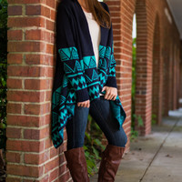 Stay A While Cardigan, Navy/Jade