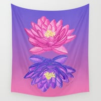 Sunrise Sunset Lotus Wall Tapestry by Artsytoocreations