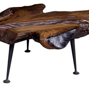 Natural Teak Coffee Table With Cast Iron Legs