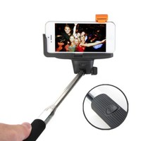 Selfie Stick Bluetooth Monopod, GMYLE® Handheld Pole with Built-in Wireless Shutter Remote Control for iPhone 6 6Plus /Galaxy Note 4/S6 5 (Black) (12 Months Warranty)