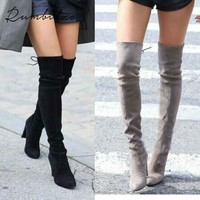 Women Stretch Suede Slim Thigh High Boots Sexy Fashion Over the Knee Boots High Heels Woman Shoes Black Gray Winered