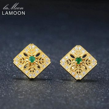LAMOON Exquisite Hollow 0.06ct 100% Natural Emerald 925 sterling-silver-jewelry 14K Yellow Gold Plated Stud Earring S925 LMEI039