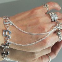 """925 Sterling Silver Musical Notes """"Slave Bracelet"""" Ring. 100% 925 Sterling Silver Item w an 18KGP Silver Ring. Fits wrists 6"""" and up."""