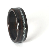Ebony Wooden Wedding Ring With Offset Crushed Pearl Inlay