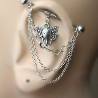 Industrial Barbell with chains, Industrial piercing,  Jewelry, Industrial bar earring, Industrial piercing chain, Elephant (m2d)