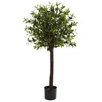 SheilaShrubs.com: 4' Olive Topiary Silk Tree 5411 by Nearly Natural : Artificial Flowers & Plants