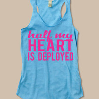 half my heart is deployed tank. deployment tank at ease designs usmc navy army usaf uscg clothing
