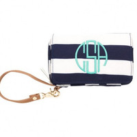 Navy Personalized Monogram ID Wristlet Wallet Monogram Cell Phone Holder Embroidered Wallet Embroidered Phone Holder Monogram Sorority Gift