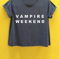 Vampire Weekend...... O Neck wash-out brown Crop top for women  free size for s/m can wearing.