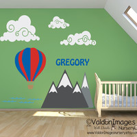 Hot air balloon and mountian nursery wall decal, nursery decor, kids name decal, kids room decor, boys wall decal, boys decor, nursery decal