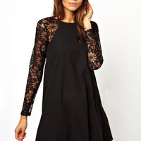 Lace Embroidered Long Sleeve Pleated A-Line Mini Dress
