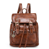 Brand Women Pu Leather Backpack Feminina Vintage Casual Drawstring School Travel Shoulder Bags For Teenager Bolsas Mochila 388t