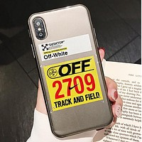 Off White & Nike Fashion New Letter Arrow Hook Print Women Men Protective Cover Phone Case Gray