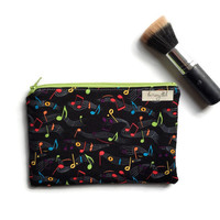 Music Note Make Up Bag, Wipe Clean Cosmetic Case, Wet Bag for Cloth Pads, Small Make Up Bag